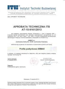 ANMAX PROFILE Aprobata Techniczna